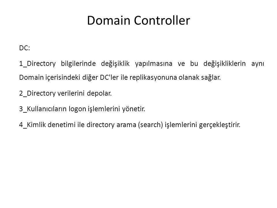 Domain Controller DC: 1_Directory bilgilerinde değişiklik yapılmasına ve bu değişikliklerin aynı Domain içerisindeki diğer DC'ler ile replikasyonuna o