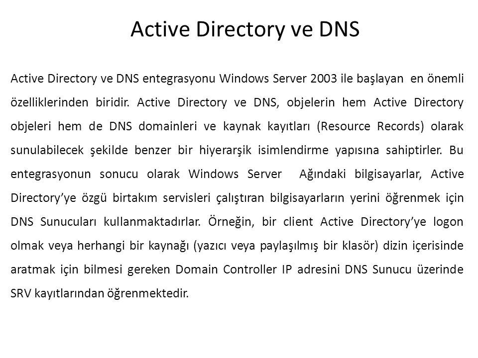 Active Directory ve DNS Active Directory ve DNS entegrasyonu Windows Server 2003 ile başlayan en önemli özelliklerinden biridir. Active Directory ve D