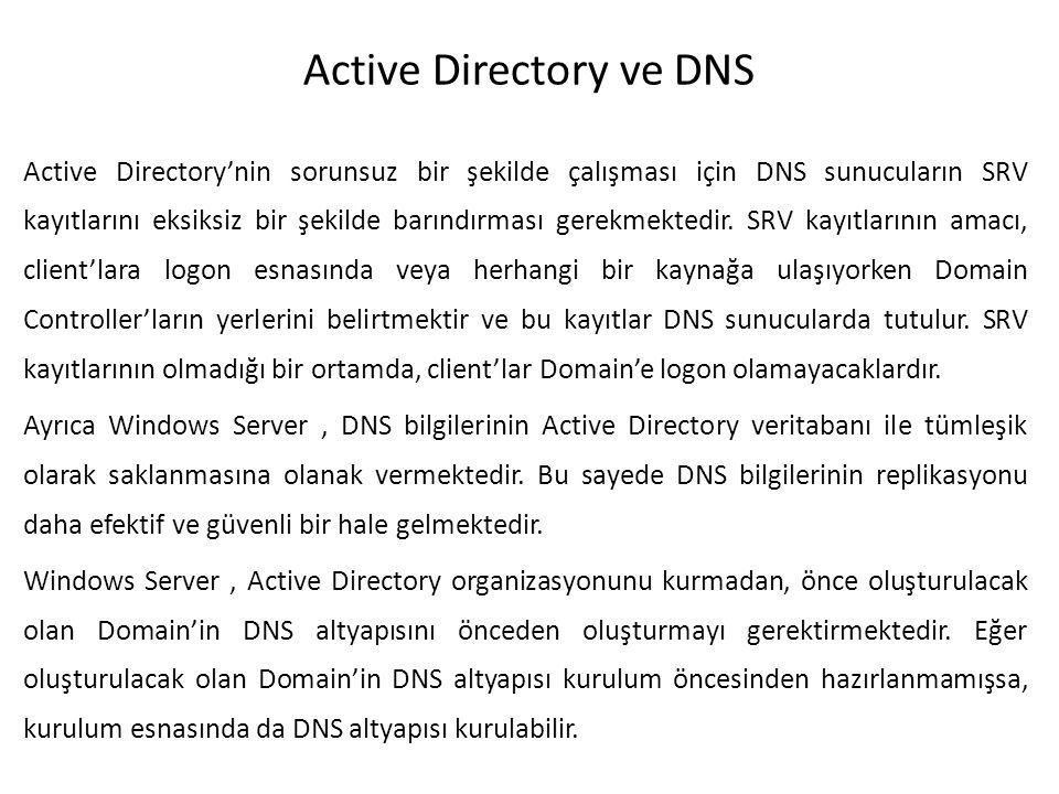 Active Directory ve DNS Active Directory'nin sorunsuz bir şekilde çalışması için DNS sunucuların SRV kayıtlarını eksiksiz bir şekilde barındırması ger