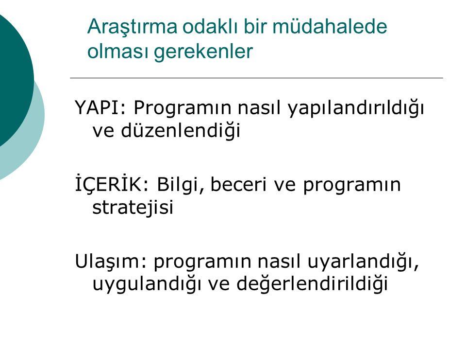 Araştırma odaklı bir müdahalede olması gerekenler YAPI: Programın nasıl yapılandırıldığı ve düzenlendiği İÇERİK: Bilgi, beceri ve programın stratejisi