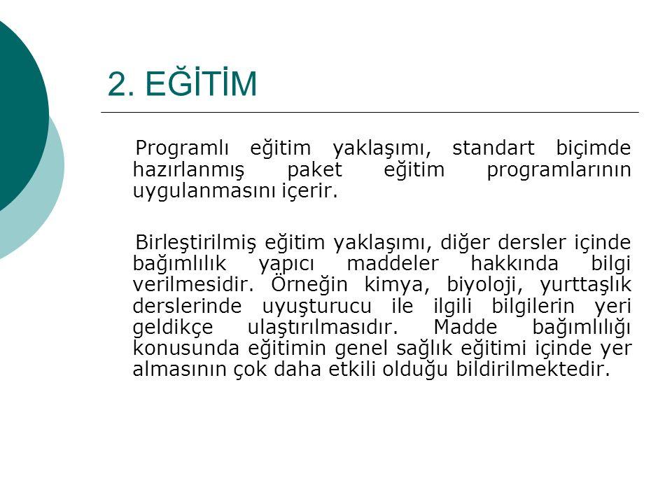2. EĞİTİM Programlı eğitim yaklaşımı, standart biçimde hazırlanmış paket eğitim programlarının uygulanmasını içerir. Birleştirilmiş eğitim yaklaşımı,