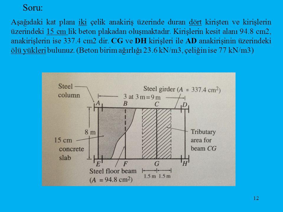 Soru: Aşağıdaki kat planı iki çelik anakiriş üzerinde duran dört kirişten ve kirişlerin üzerindeki 15 cm lik beton plakadan oluşmaktadır. Kirişlerin k