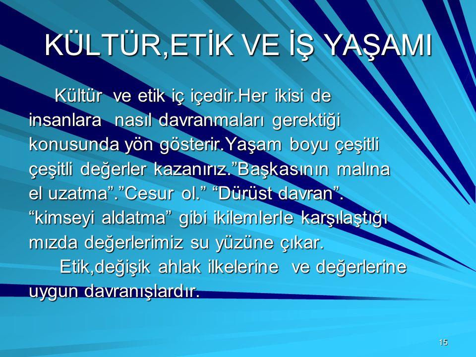 15 KÜLTÜR,ETİK VE İŞ YAŞAMI Kültür ve etik iç içedir.Her ikisi de Kültür ve etik iç içedir.Her ikisi de insanlara nasıl davranmaları gerektiği konusun