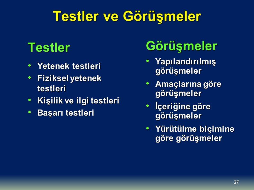 27 Testler ve Görüşmeler Testler Yetenek testleri Yetenek testleri Fiziksel yetenek testleri Fiziksel yetenek testleri Kişilik ve ilgi testleri Kişili