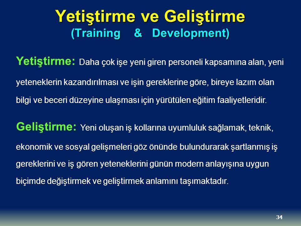 Yetiştirme ve Geliştirme (Training & Development) Yetiştirme: Daha çok işe yeni giren personeli kapsamına alan, yeni yeteneklerin kazandırılması ve iş
