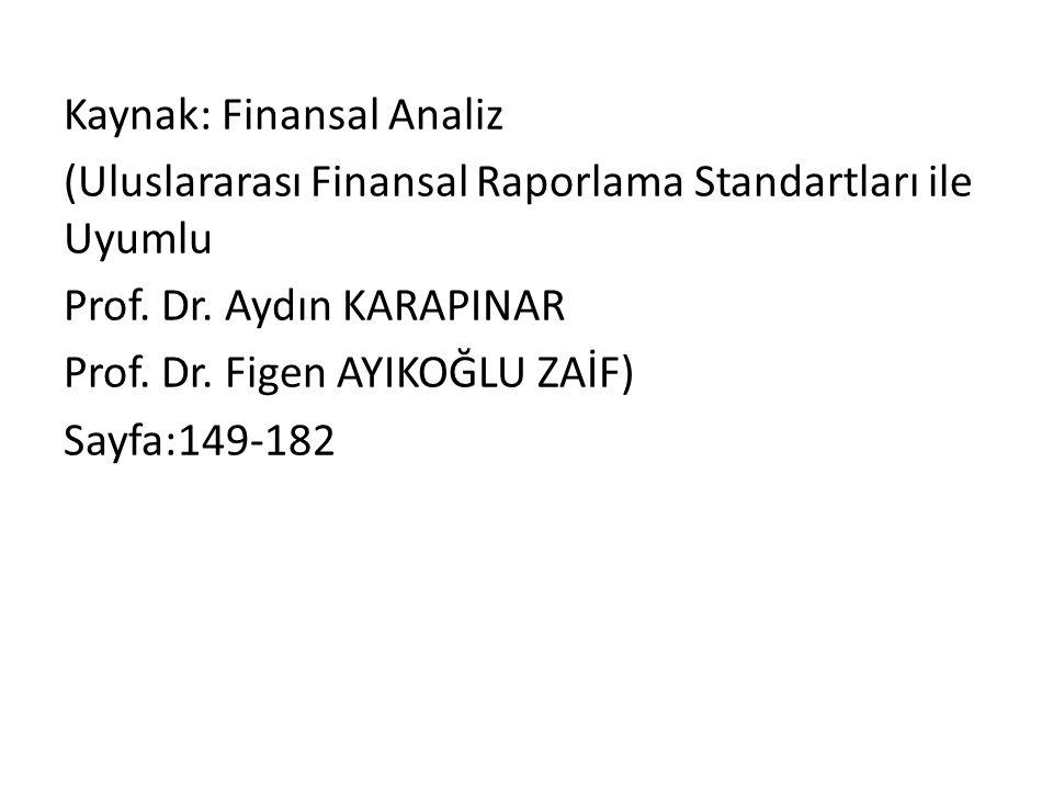 Kaynak: Finansal Analiz (Uluslararası Finansal Raporlama Standartları ile Uyumlu Prof. Dr. Aydın KARAPINAR Prof. Dr. Figen AYIKOĞLU ZAİF) Sayfa:149-18