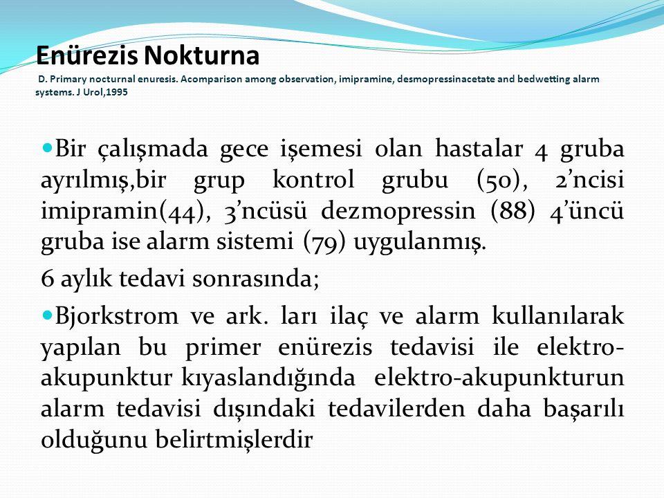 Bir çalışmada gece işemesi olan hastalar 4 gruba ayrılmış,bir grup kontrol grubu (50), 2'ncisi imipramin(44), 3'ncüsü dezmopressin (88) 4'üncü gruba i