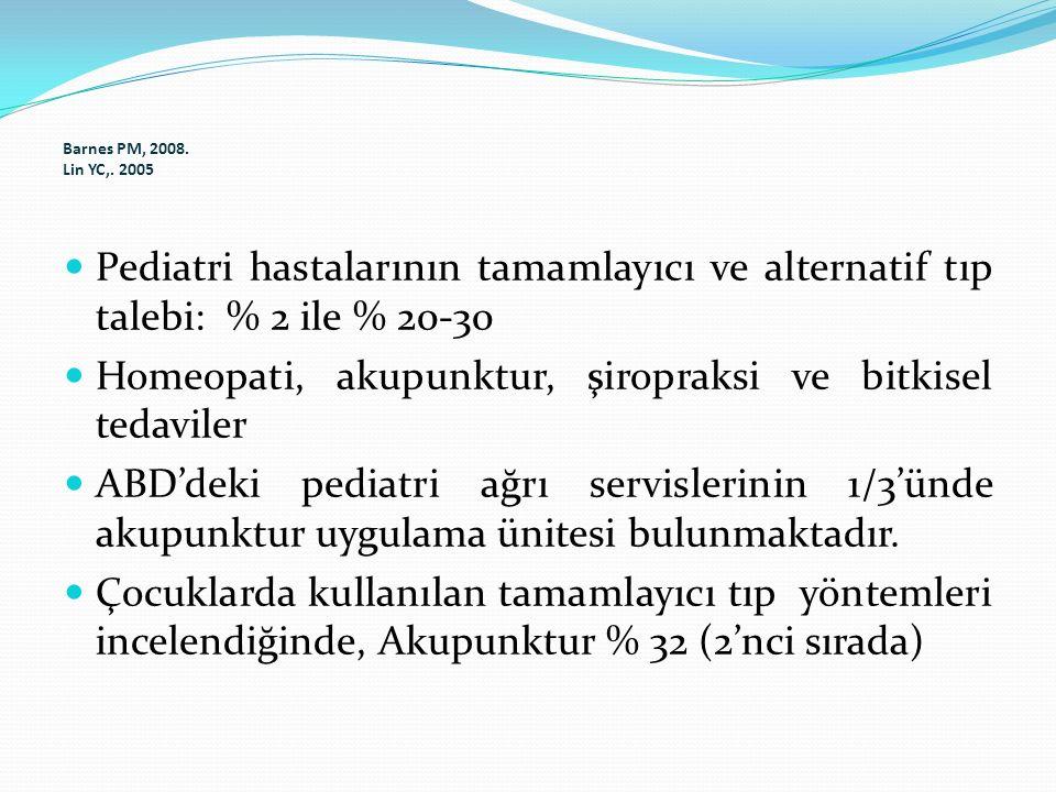 Barnes PM, 2008. Lin YC,. 2005 Pediatri hastalarının tamamlayıcı ve alternatif tıp talebi: % 2 ile % 20-30 Homeopati, akupunktur, şiropraksi ve bitkis