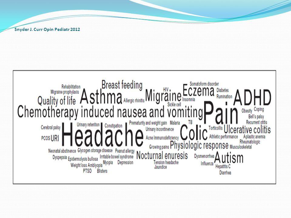 Ağrı Pintov S, 1997 Dalla Libera D, 2014 Dalla Libera D 7-15 yaş arası 22 migren hastası çocuğa akupunktur ve plasebo akupunktur uygulanmış, akupunktur yapılanda migren sıklığı ve şiddetinde plasebo grubuna göre belirgin azalma saptanmıştır İtalya da ki çalışmada Tamamlayıcı yöntemler arasında akupunktur % 11 olarak tercih edilmiştir Çocuk hastalarının migren tedavisi için daha fazla çalışmaya ihtiyaç bulunmaktadır.