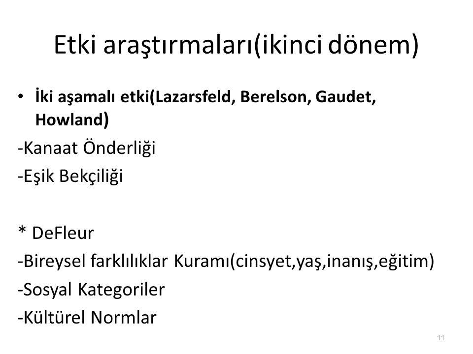 Etki araştırmaları(ikinci dönem) İki aşamalı etki(Lazarsfeld, Berelson, Gaudet, Howland ) -Kanaat Önderliği -Eşik Bekçiliği * DeFleur -Bireysel farklı