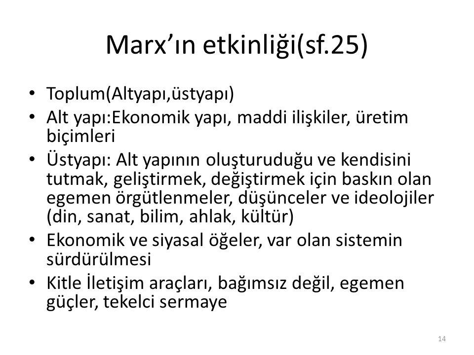 Marx'ın etkinliği(sf.25) Toplum(Altyapı,üstyapı) Alt yapı:Ekonomik yapı, maddi ilişkiler, üretim biçimleri Üstyapı: Alt yapının oluşturuduğu ve kendis