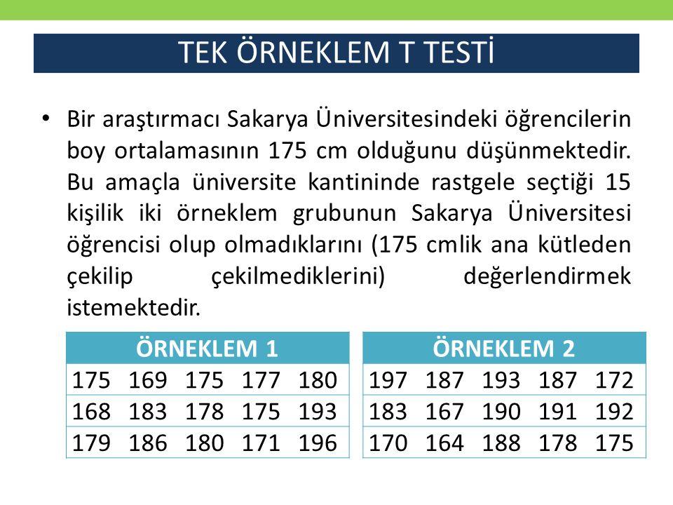 TEK ÖRNEKLEM T TESTİ Bir araştırmacı Sakarya Üniversitesindeki öğrencilerin boy ortalamasının 175 cm olduğunu düşünmektedir. Bu amaçla üniversite kant