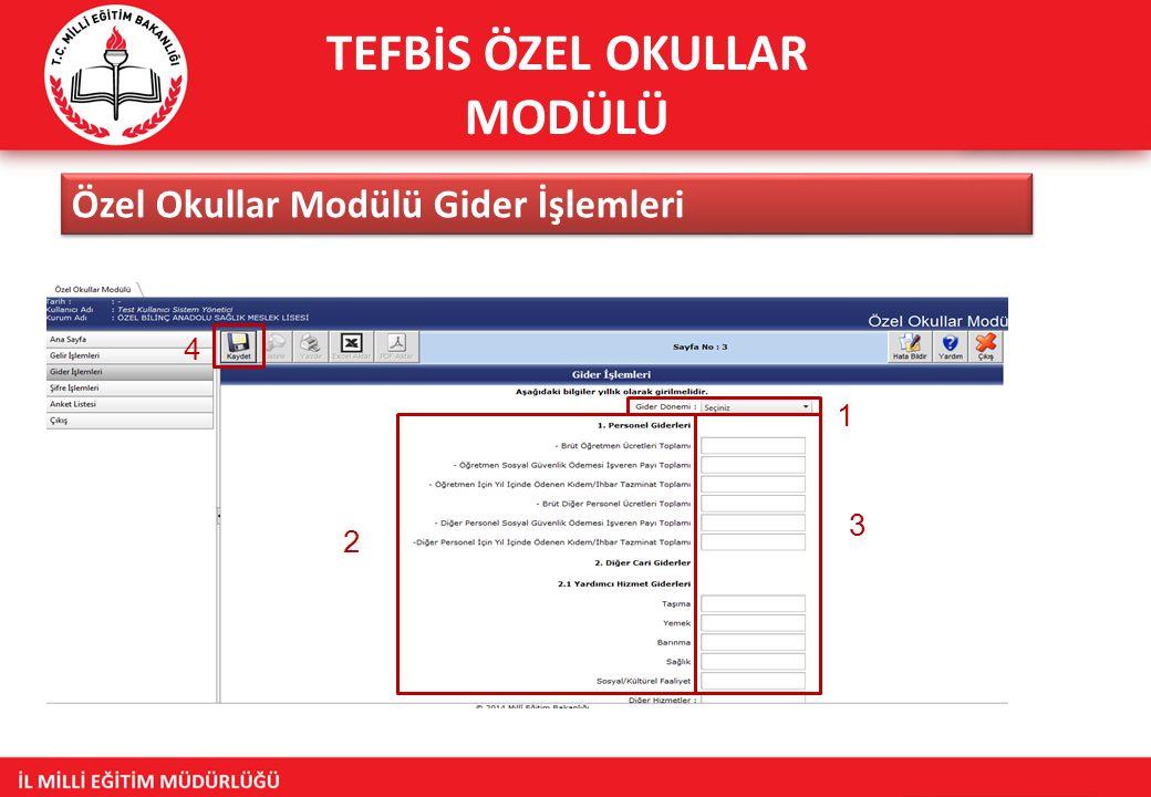TEFBİS ÖZEL OKULLAR MODÜLÜ Özel Okullar Modülü Gider İşlemleri 1 2 3 4