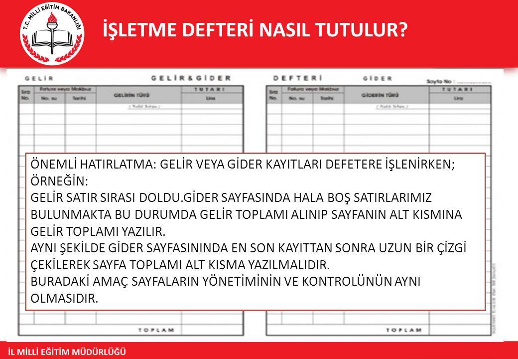 İŞLETME DEFTERİ NASIL TUTULUR.