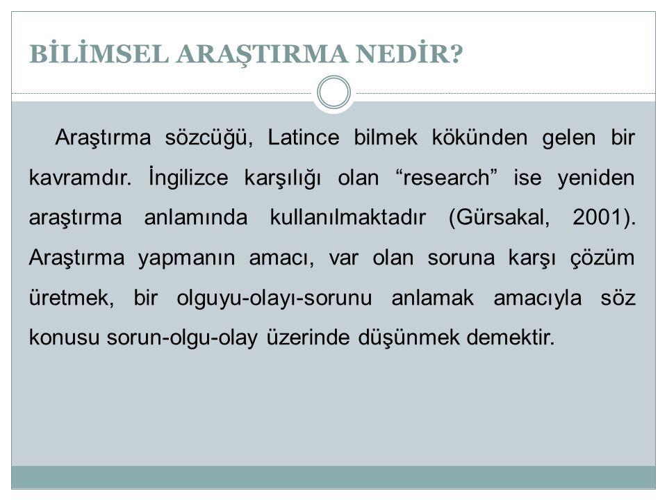 """BİLİMSEL ARAŞTIRMA NEDİR? Araştırma sözcüğü, Latince bilmek kökünden gelen bir kavramdır. İngilizce karşılığı olan """"research"""" ise yeniden araştırma an"""