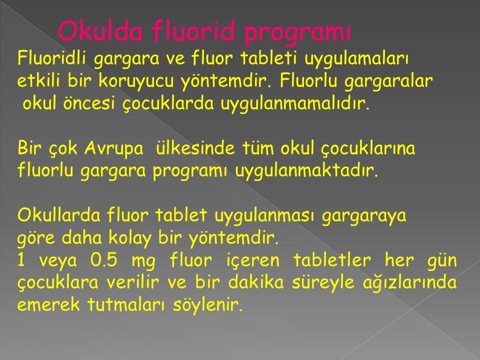 Okulda fluorid programı Fluoridli gargara ve fluor tableti uygulamaları etkili bir koruyucu yöntemdir. Fluorlu gargaralar okul öncesi çocuklarda uygul
