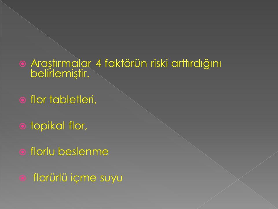  Araştırmalar 4 faktörün riski arttırdığını belirlemiştir.  flor tabletleri,  topikal flor,  florlu beslenme  florürlü içme suyu