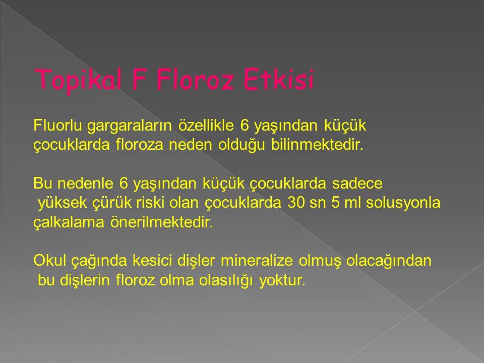 Topikal F Floroz Etkisi Fluorlu gargaraların özellikle 6 yaşından küçük çocuklarda floroza neden olduğu bilinmektedir. Bu nedenle 6 yaşından küçük çoc
