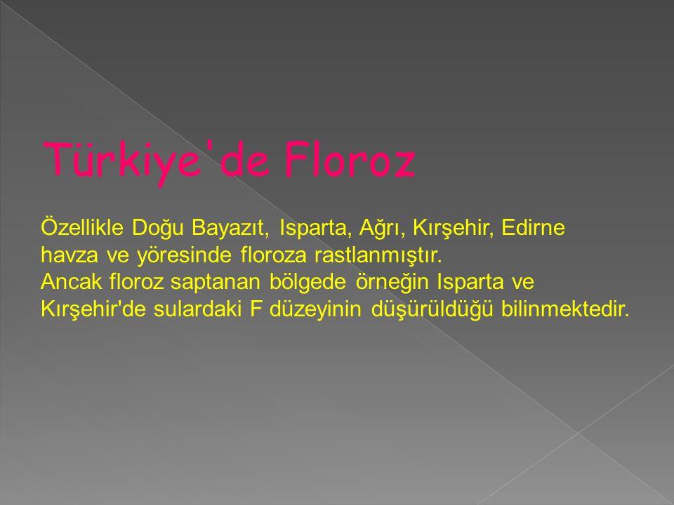 Türkiye'de Floroz Özellikle Doğu Bayazıt, Isparta, Ağrı, Kırşehir, Edirne havza ve yöresinde floroza rastlanmıştır. Ancak floroz saptanan bölgede örne