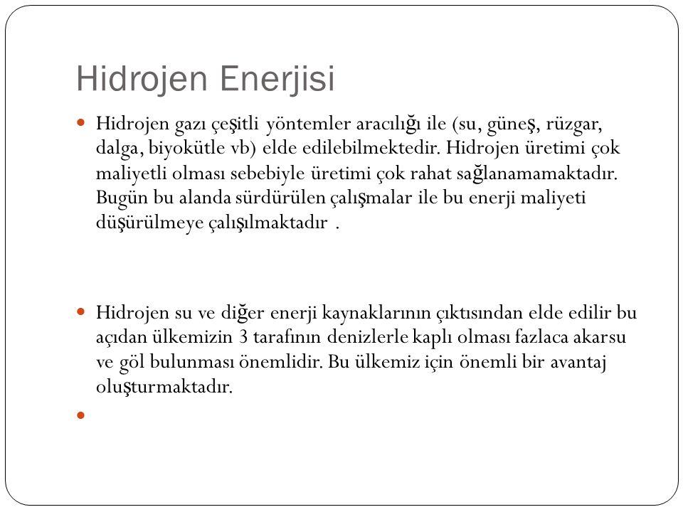 Hidrojen Enerjisi Hidrojen gazı çe ş itli yöntemler aracılı ğ ı ile (su, güne ş, rüzgar, dalga, biyokütle vb) elde edilebilmektedir.
