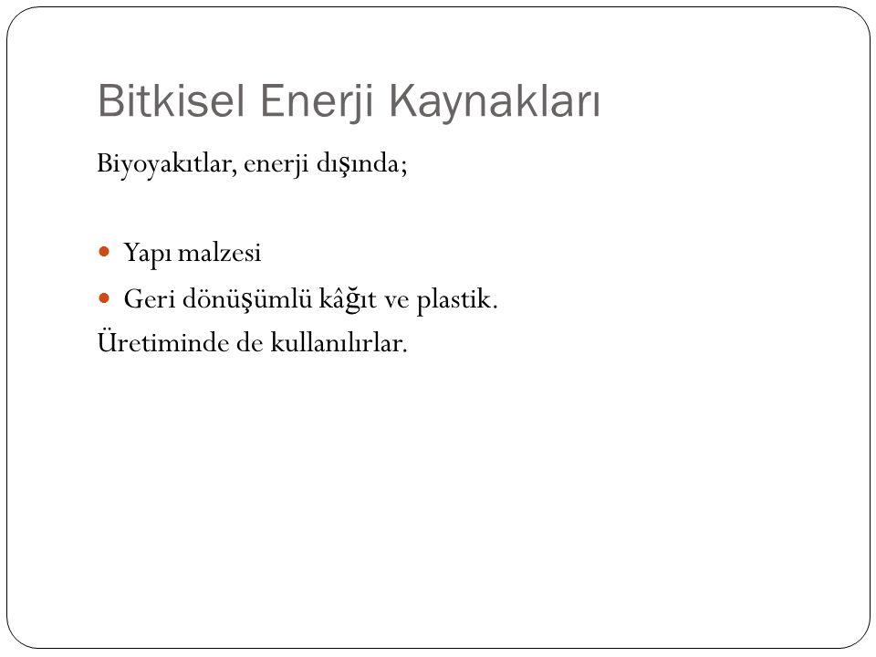 Bitkisel Enerji Kaynakları Biyoyakıtlar, enerji dı ş ında; Yapı malzesi Geri dönü ş ümlü kâ ğ ıt ve plastik.