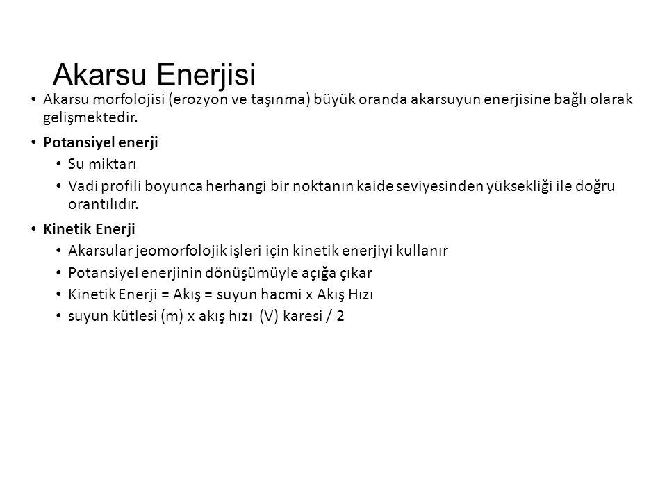 Akarsu Enerjisi Akarsu morfolojisi (erozyon ve taşınma) büyük oranda akarsuyun enerjisine bağlı olarak gelişmektedir.