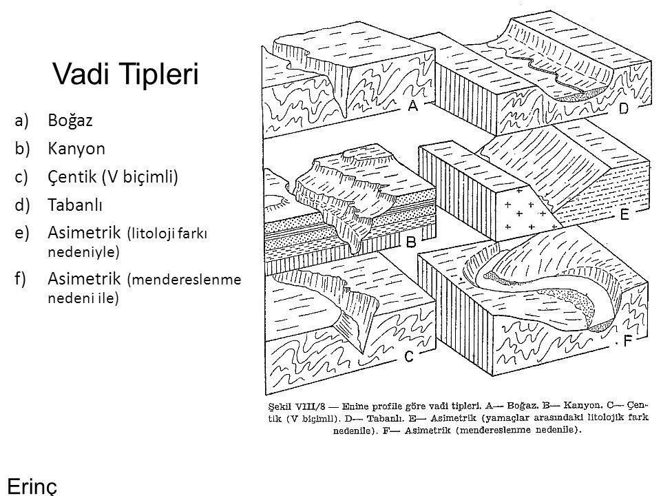 Vadi Tipleri a)Boğaz b)Kanyon c)Çentik (V biçimli) d)Tabanlı e)Asimetrik (litoloji farkı nedeniyle) f)Asimetrik (mendereslenme nedeni ile) Erinç