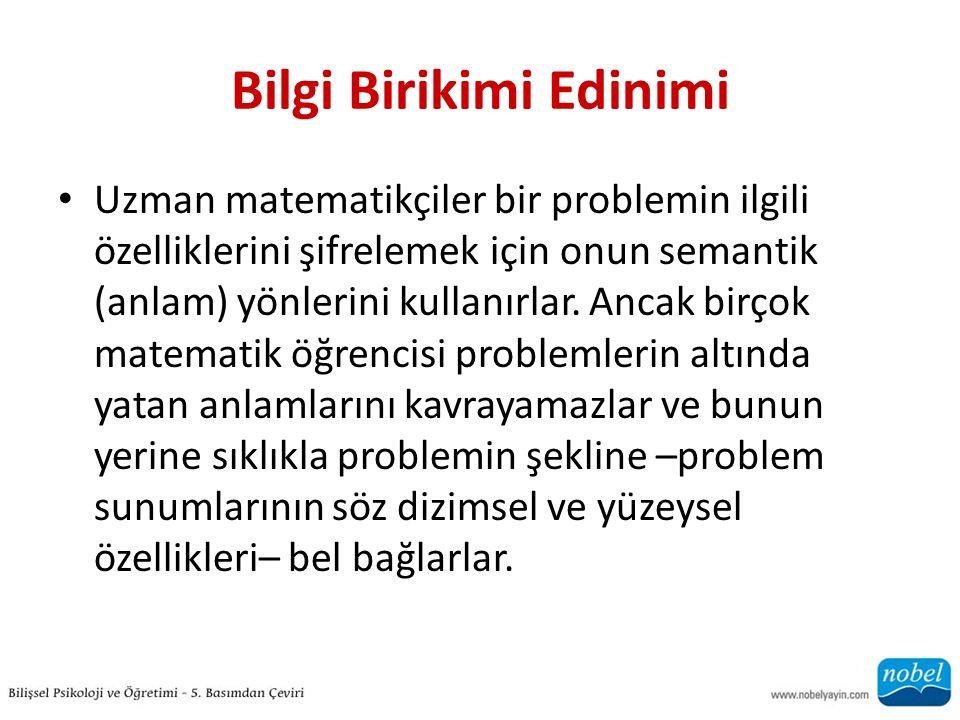 Aritmetik Problem Çözme Hatalar ın Bize Öğretebilecekleri Problem Tipolojileri Hepsini Model ile Birlikte Sayma Büyükten Başlayarak Sayma