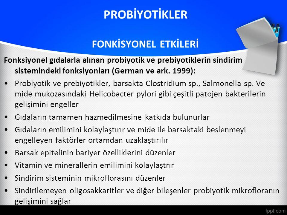 Fonksiyonel gıdalarla alınan probiyotik ve prebiyotiklerin sindirim sistemindeki fonksiyonları (German ve ark. 1999): Probiyotik ve prebiyotikler, bar