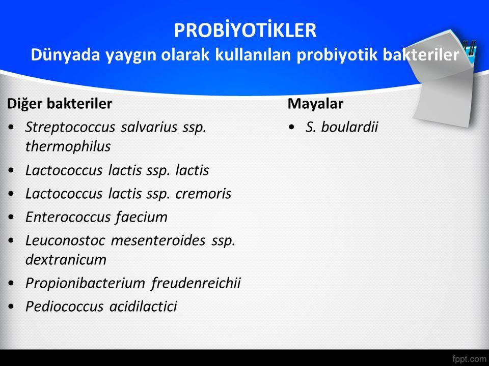 PROBİYOTİKLER Dünyada yaygın olarak kullanılan probiyotik bakteriler Diğer bakteriler Streptococcus salvarius ssp. thermophilus Lactococcus lactis ssp