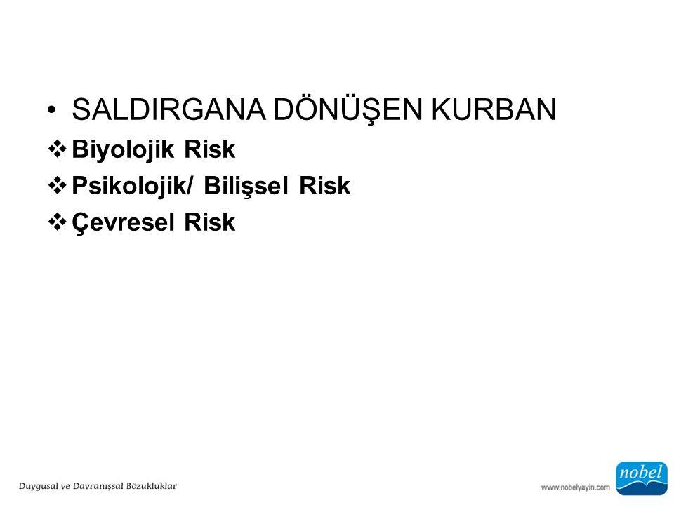 SALDIRGANA DÖNÜŞEN KURBAN  Biyolojik Risk  Psikolojik/ Bilişsel Risk  Çevresel Risk