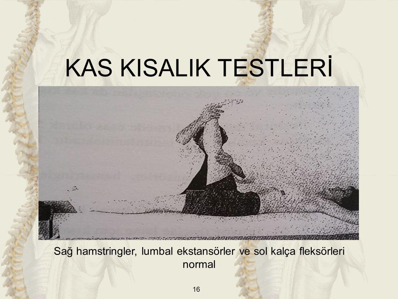 16 Sağ hamstringler, lumbal ekstansörler ve sol kalça fleksörleri normal KAS KISALIK TESTLERİ