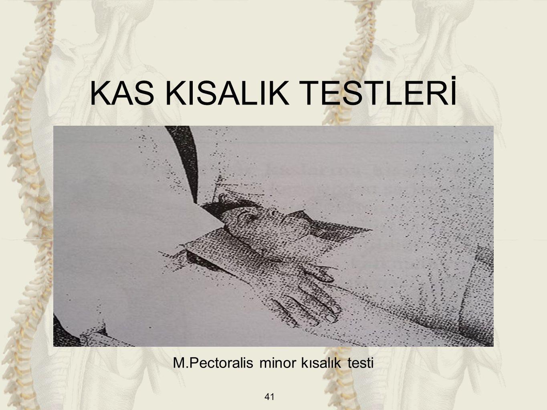 41 M.Pectoralis minor kısalık testi KAS KISALIK TESTLERİ
