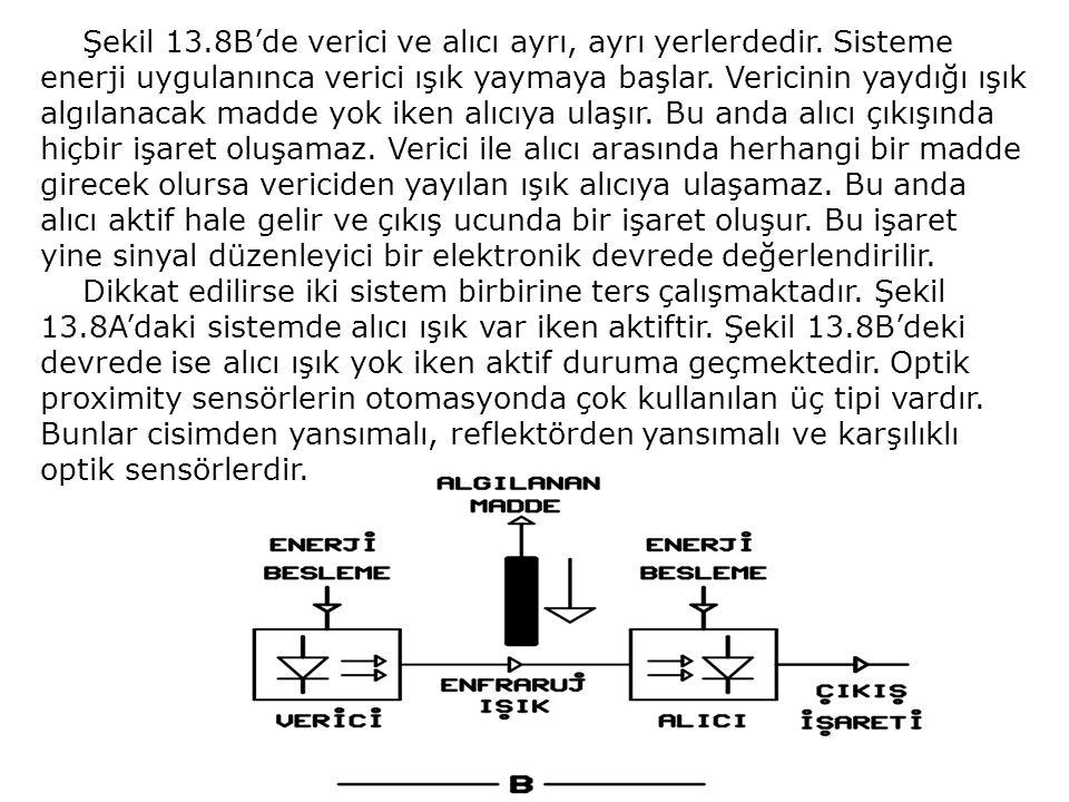 Şekil 13.8B'de verici ve alıcı ayrı, ayrı yerlerdedir. Sisteme enerji uygulanınca verici ışık yaymaya başlar. Vericinin yaydığı ışık algılanacak madde