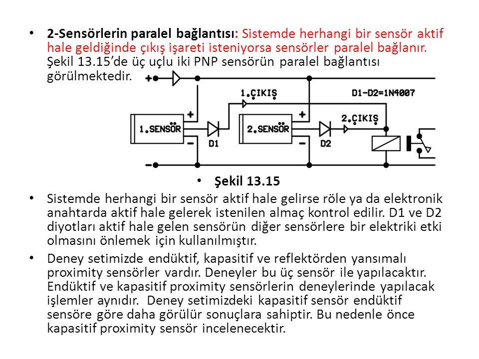 2-Sensörlerin paralel bağlantısı: Sistemde herhangi bir sensör aktif hale geldiğinde çıkış işareti isteniyorsa sensörler paralel bağlanır. Şekil 13.15