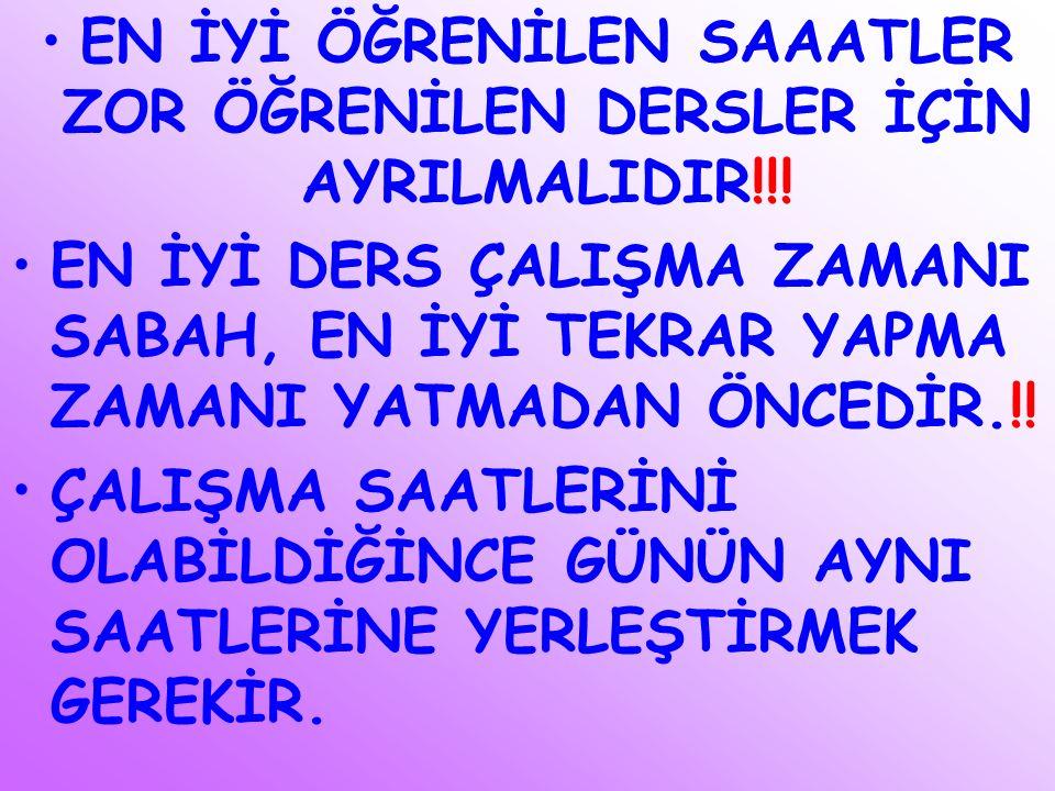 EN İYİ ÖĞRENİLEN SAAATLER ZOR ÖĞRENİLEN DERSLER İÇİN AYRILMALIDIR!!! EN İYİ DERS ÇALIŞMA ZAMANI SABAH, EN İYİ TEKRAR YAPMA ZAMANI YATMADAN ÖNCEDİR.!!