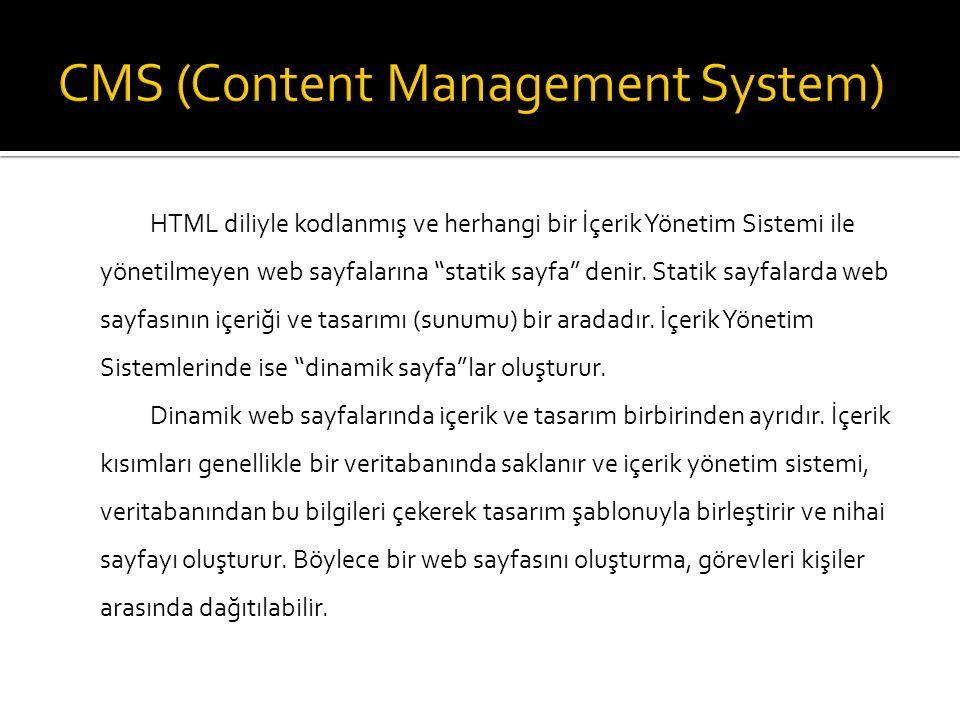 """HTML diliyle kodlanmış ve herhangi bir İçerik Yönetim Sistemi ile yönetilmeyen web sayfalarına """"statik sayfa"""" denir. Statik sayfalarda web sayfasının"""