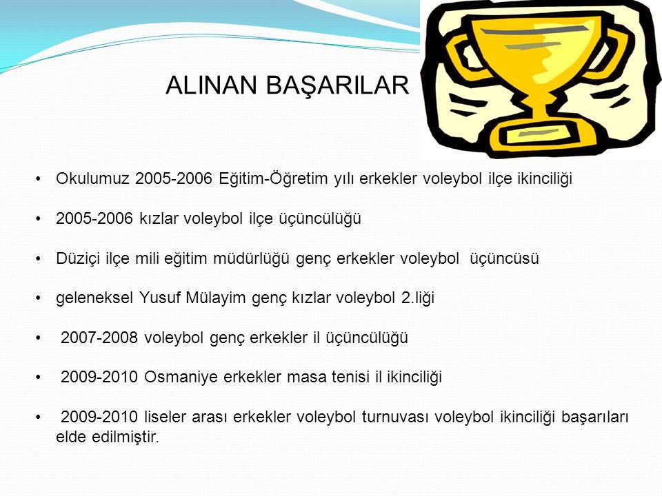 ALINAN BAŞARILAR Okulumuz 2005-2006 Eğitim-Öğretim yılı erkekler voleybol ilçe ikinciliği 2005-2006 kızlar voleybol ilçe üçüncülüğü Düziçi ilçe mili eğitim müdürlüğü genç erkekler voleybol üçüncüsü geleneksel Yusuf Mülayim genç kızlar voleybol 2.liği 2007-2008 voleybol genç erkekler il üçüncülüğü 2009-2010 Osmaniye erkekler masa tenisi il ikinciliği 2009-2010 liseler arası erkekler voleybol turnuvası voleybol ikinciliği başarıları elde edilmiştir.