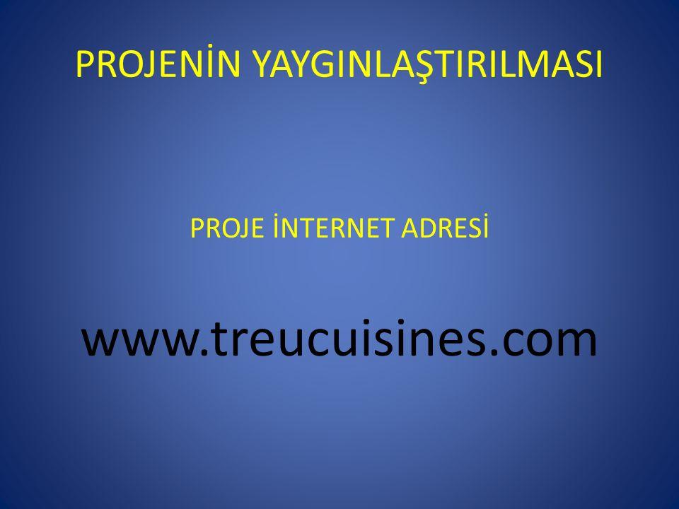 PROJENİN YAYGINLAŞTIRILMASI PROJE İNTERNET ADRESİ www.treucuisines.com