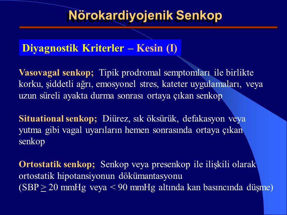 Kardiyak iskemiye sekonder senkop; EKG'de iskemi veya akut Mİ bulgularının bulunması Kardiyak aritmiye sekonder senkop ; EKG'de Sinüs bradikardisi ( 3 saniye) Atrioventriküler blok (2.