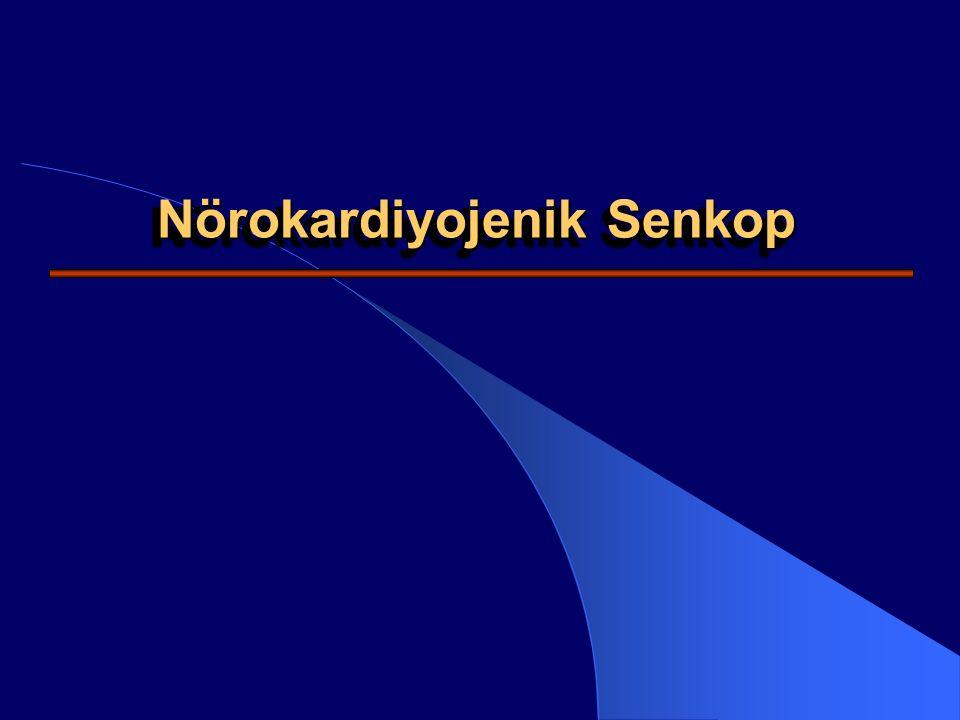 Senkop - Tanım Senkop; geçici bilinç kaybının yol açtığı genellikle postüral tonus kaybı-düşme ile sonuçlanan ve kendiliğinden düzelen bir klinik durumdur Senkopun ortaya çıkışı genellikle ani olup, takiben birden ve bütünüyle bir klinik düzelme gözlenir Senkopun oluşumunda sorumlu mekanizma; ani / kısa sürede gelişen serebral hipoperfüzonyondur Nörokardiyojenik Senkop