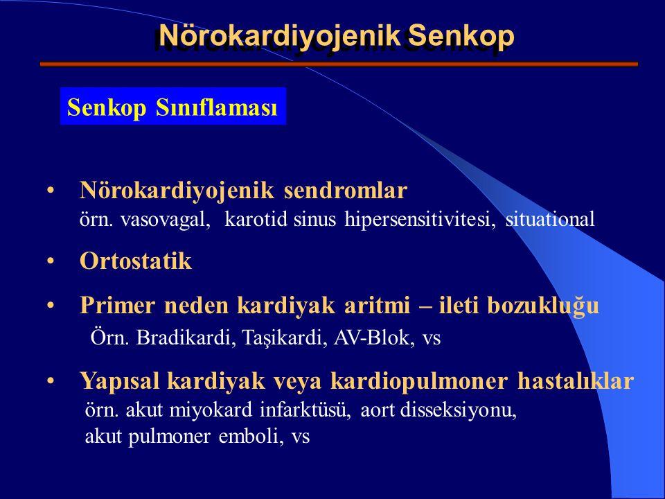 Neuro- Cardiogenic Syncope Non-senkopal atak sınıflaması Bilinç kaybı veya bozulmanın eşlik ettiği, senkop benzeri durumlar örn epileptik atak, transiyel iskemik atak, vs Bilincin açık olduğu senkop benzeri durumlar; e.g.