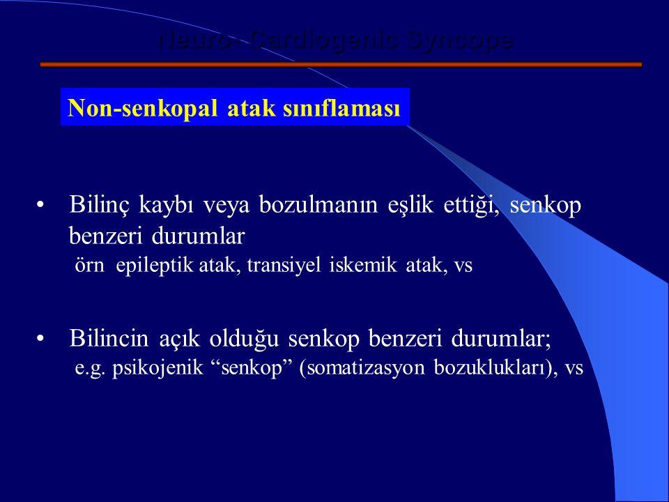 Neuro- Cardiogenic Syncope Non-senkopal atak düşündüren klinik özellikler Atak sonrası > 5dk süren konfüzyon (epileptik nöbet) Atak başlangıcında başlayan uzun süreli (>15 sn) tonik-klonik kasılmalar (epileptik nöbet) Organik kalp hastalığın olmadığı, sık somatik yakınmaların olması (psikojenik) Vertigo, dizartri, diplopia (Transient İskemik Atak)