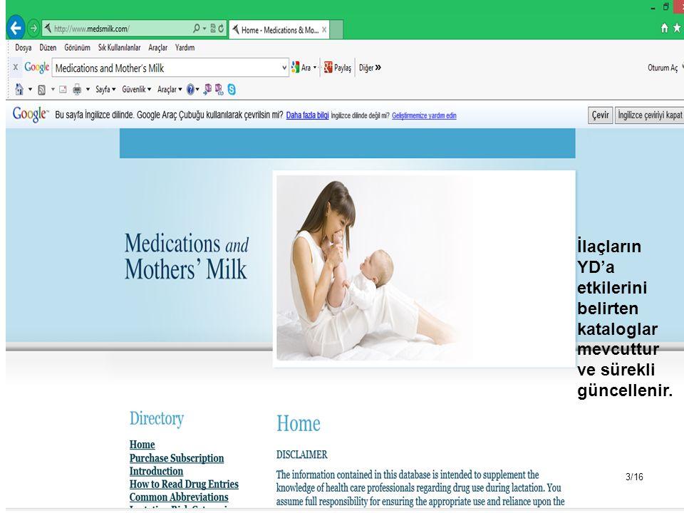 İlaçların YD'a etkilerini belirten kataloglar mevcuttur ve sürekli güncellenir. 3/16
