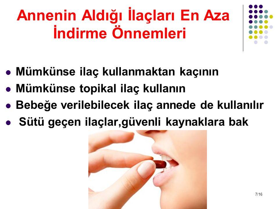 Annenin Aldığı İlaçları En Aza İndirme Önnemleri Mümkünse ilaç kullanmaktan kaçının Mümkünse topikal ilaç kullanın Bebeğe verilebilecek ilaç annede de
