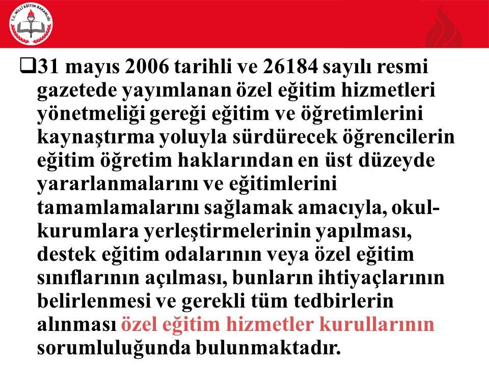  31 mayıs 2006 tarihli ve 26184 sayılı resmi gazetede yayımlanan özel eğitim hizmetleri yönetmeliği gereği eğitim ve öğretimlerini kaynaştırma yoluyl