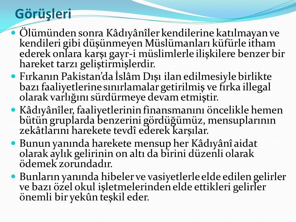Görüşleri Ölümünden sonra Kâdıyânîler kendilerine katılmayan ve kendileri gibi düşünmeyen Müslümanları küfürle itham ederek onlara karşı gayr-i müslim