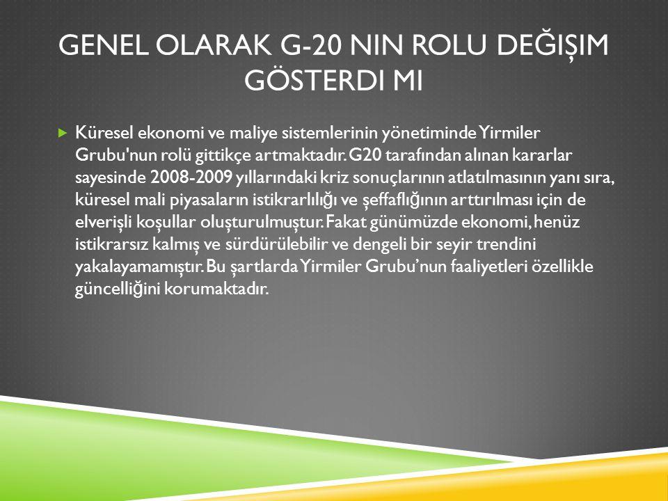 GENEL OLARAK G-20 NIN ROLU DE Ğ IŞIM GÖSTERDI MI  Küresel ekonomi ve maliye sistemlerinin yönetiminde Yirmiler Grubu'nun rolü gittikçe artmaktadır. G
