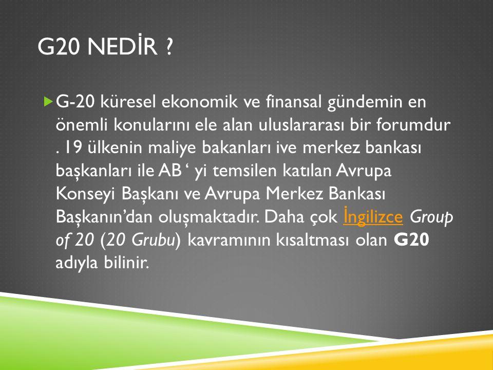 G20 NED İ R ?  G-20 küresel ekonomik ve finansal gündemin en önemli konularını ele alan uluslararası bir forumdur. 19 ülkenin maliye bakanları ive me