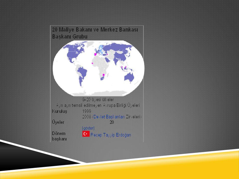 G-20 ÜLKELERI  Almanya, Amerika Birleşik Devletleri, Arjantin, Avustralya, Brezilya, Çin, Endonezya, Fransa, Güney Afrika, Güney Kore,Hindistan, İ ngiltere, İ talya, Japonya, Kanada, Meksika, Rusya, Suudi Arabistan, Türkiye ve Avrupa Birli ğ i Komisyonu oluşturuyor.AlmanyaAmerika Birleşik DevletleriArjantin AvustralyaBrezilyaÇinEndonezyaFransa Güney AfrikaGüney KoreHindistan İ ngiltere İ talyaJaponyaKanadaMeksikaRusyaSuudi ArabistanTürkiye